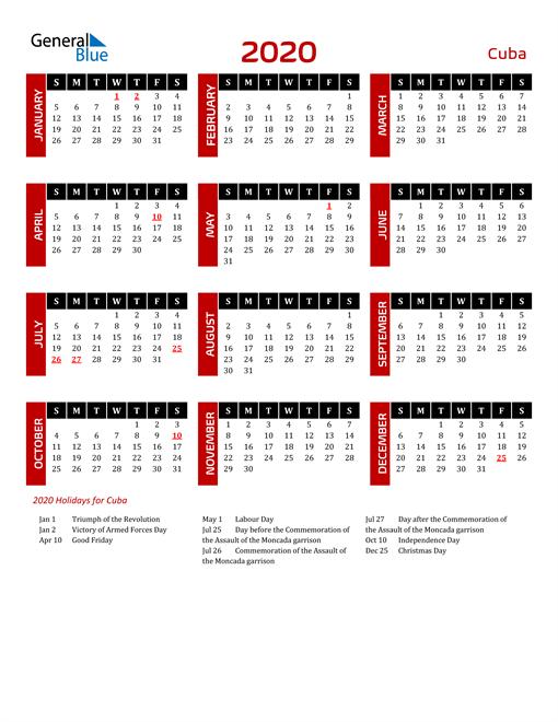 Download Cuba 2020 Calendar