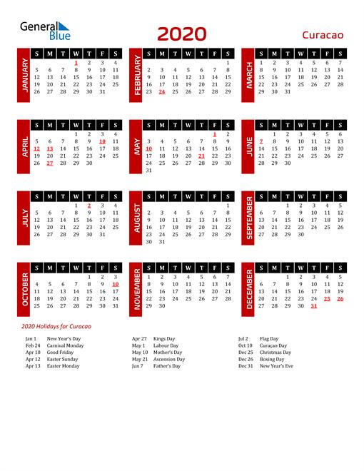 Download Curacao 2020 Calendar