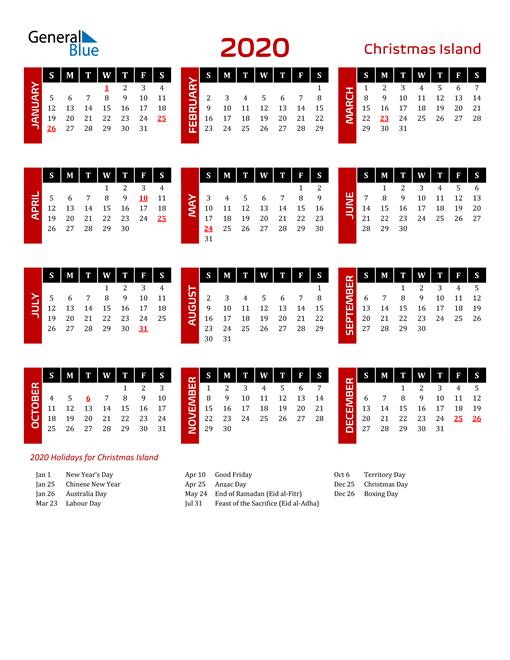Download Christmas Island 2020 Calendar