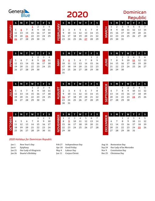 Download Dominican Republic 2020 Calendar