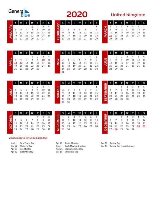 Download United Kingdom 2020 Calendar