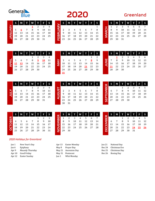 Download Greenland 2020 Calendar