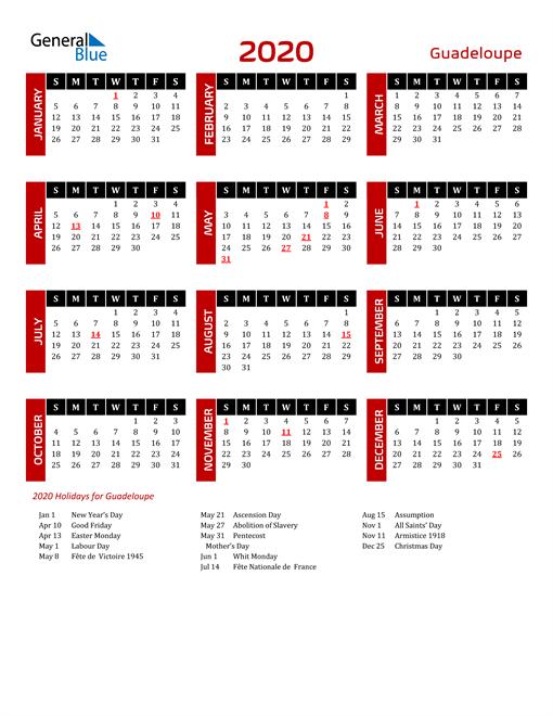 Download Guadeloupe 2020 Calendar