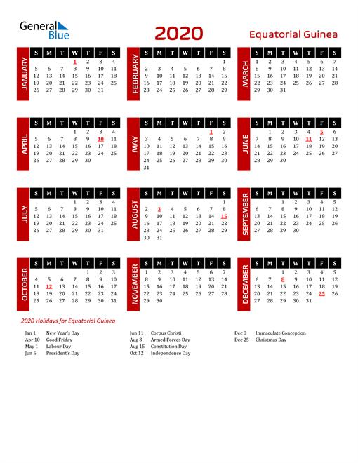Download Equatorial Guinea 2020 Calendar