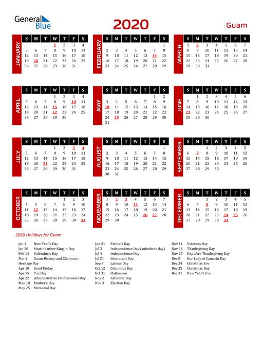 Download Guam 2020 Calendar