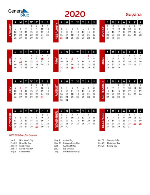 Download Guyana 2020 Calendar
