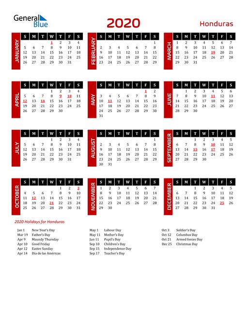 Download Honduras 2020 Calendar