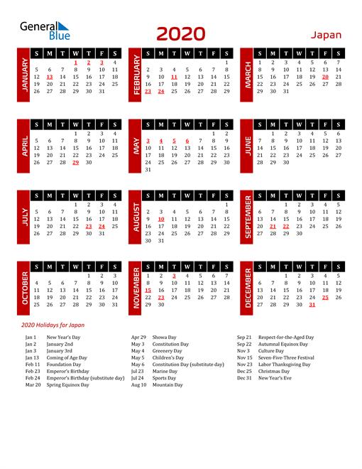Download Japan 2020 Calendar
