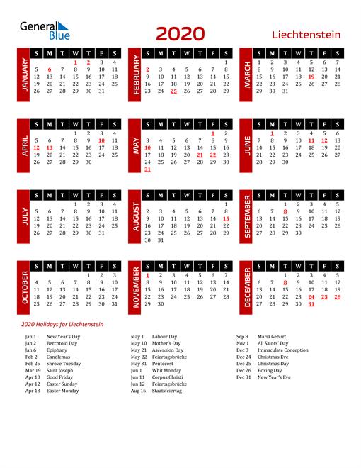 Download Liechtenstein 2020 Calendar