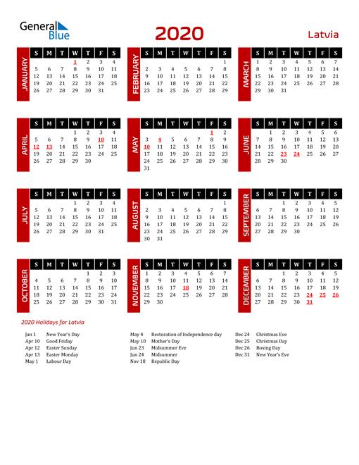 Download Latvia 2020 Calendar