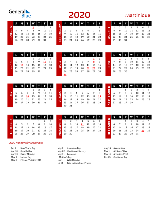 Download Martinique 2020 Calendar