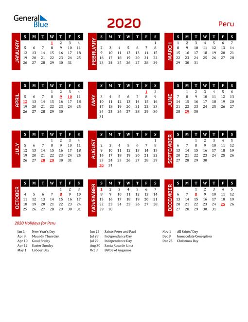 Download Peru 2020 Calendar