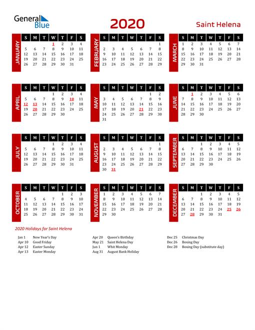 Download Saint Helena 2020 Calendar