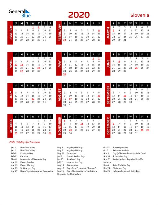Download Slovenia 2020 Calendar