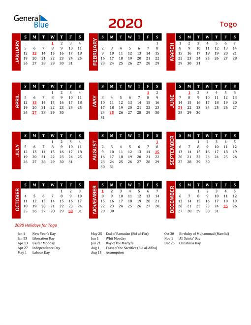 Download Togo 2020 Calendar