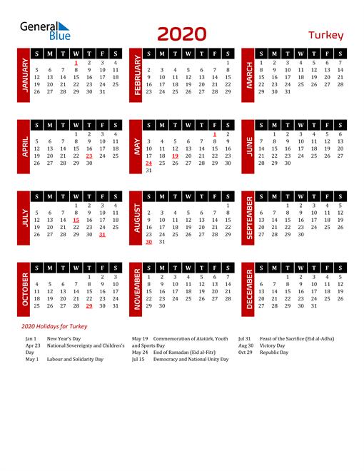 Download Turkey 2020 Calendar