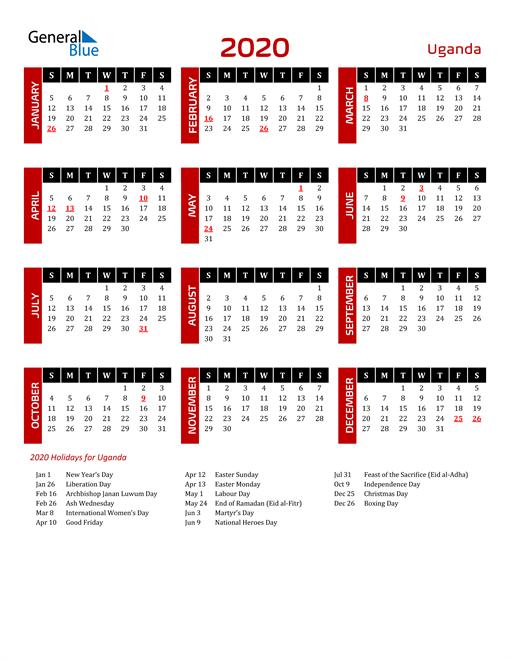 Download Uganda 2020 Calendar