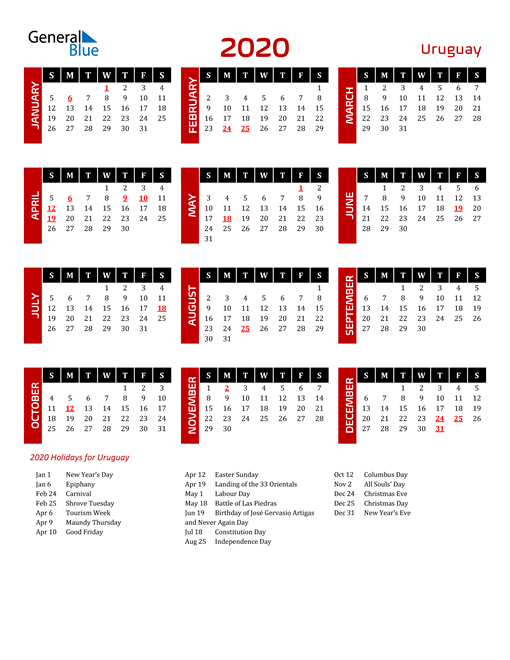 Download Uruguay 2020 Calendar