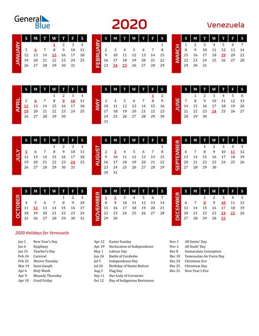 Download Venezuela 2020 Calendar
