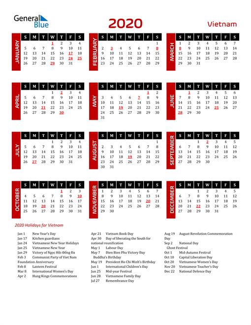 Download Vietnam 2020 Calendar