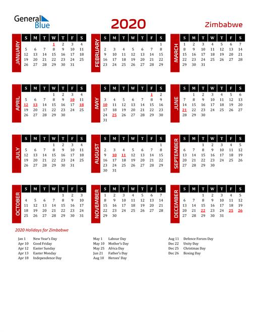 Download Zimbabwe 2020 Calendar