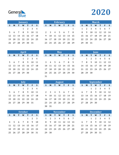 Image of 2020 2020 Calendar Blue with No Borders