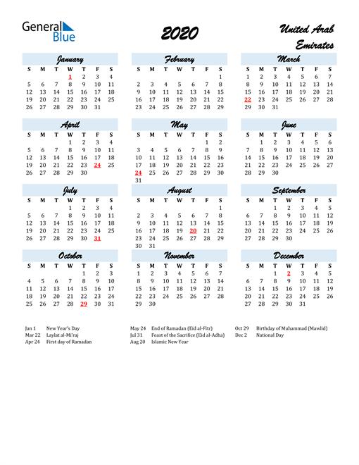 Image of 2020 Calendar in Script for United Arab Emirates