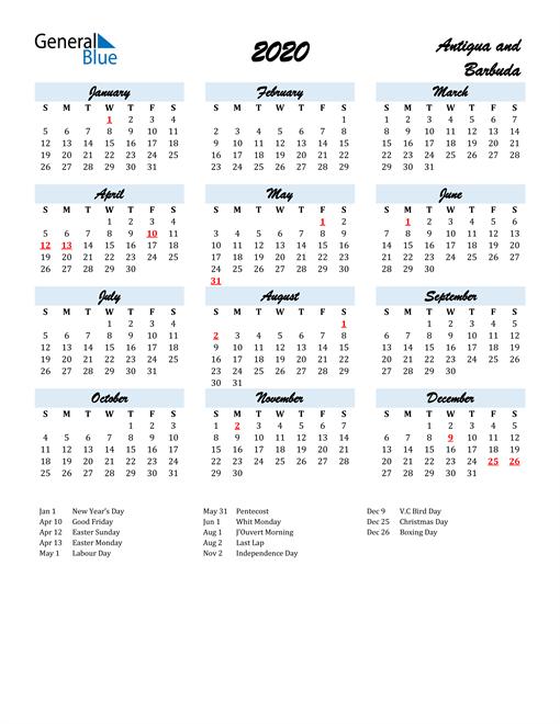 Image of 2020 Calendar in Script for Antigua and Barbuda