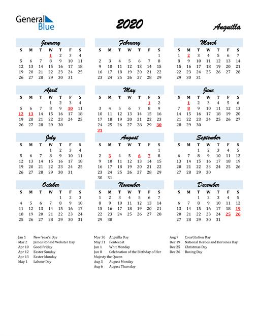 Image of 2020 Calendar in Script for Anguilla