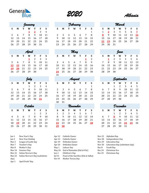 2020 Calendar for Albania with Holidays