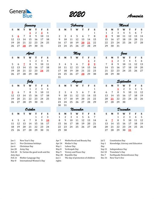 2020 Calendar for Armenia with Holidays