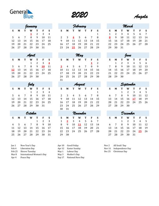 Image of 2020 Calendar in Script for Angola