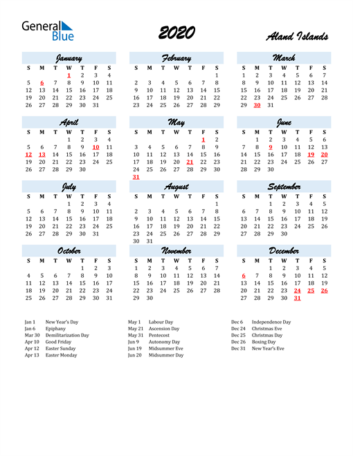 2020 Calendar for Aland Islands with Holidays