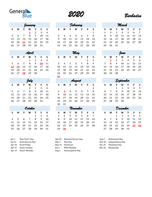 Image of 2020 Calendar in Script for Barbados