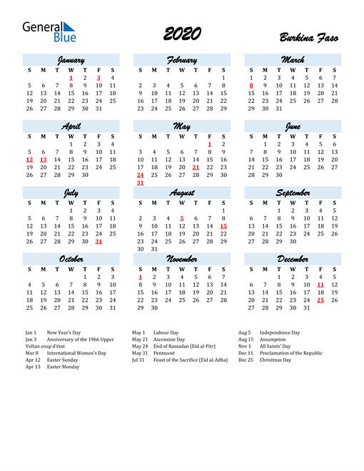 2020 Calendar for Burkina Faso with Holidays