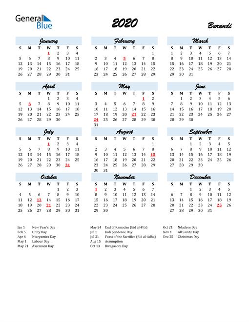 2020 Calendar for Burundi with Holidays