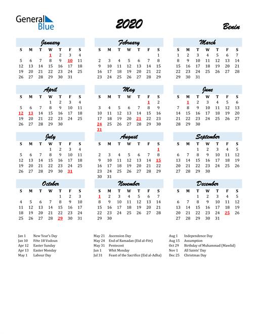 2020 Calendar for Benin with Holidays