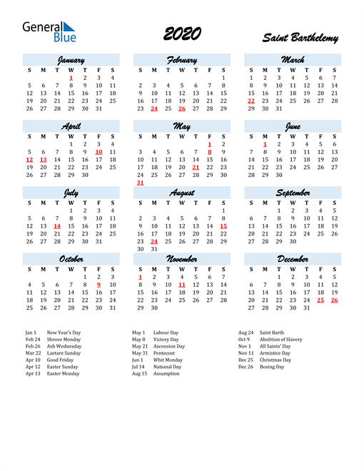 2020 Calendar for Saint Barthelemy with Holidays