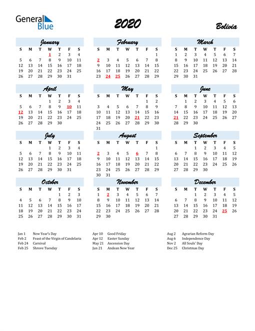 2020 Calendar for Bolivia with Holidays