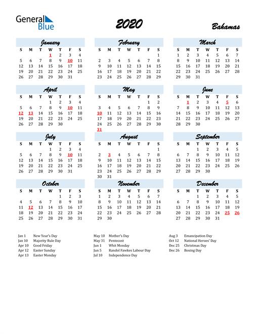 2020 Calendar for Bahamas with Holidays
