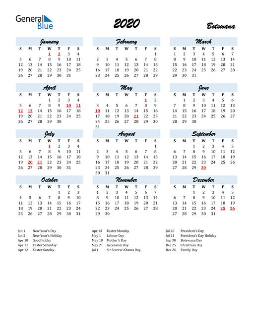Image of 2020 Calendar in Script for Botswana