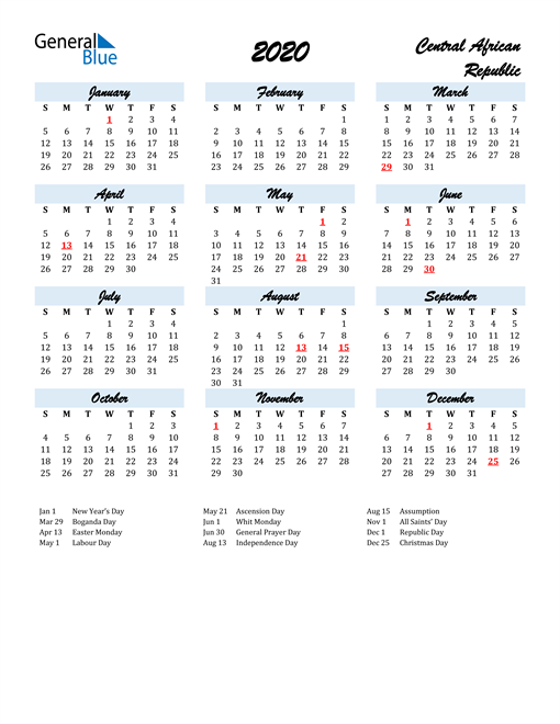 2020 Calendar for Central African Republic with Holidays