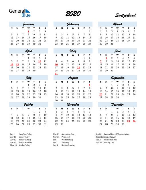 Image of 2020 Calendar in Script for Switzerland