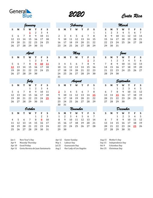 2020 Calendar for Costa Rica with Holidays