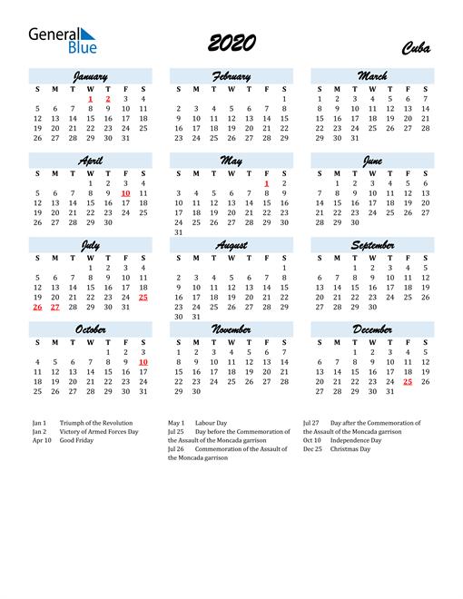 2020 Calendar for Cuba with Holidays