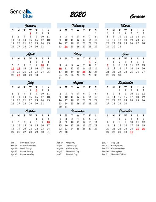 2020 Calendar for Curacao with Holidays