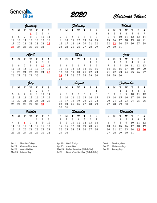 Image of 2020 Calendar in Script for Christmas Island