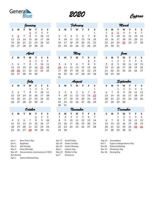 Image of 2020 Calendar in Script for Cyprus