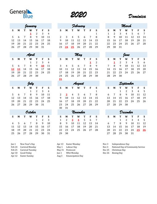 Image of 2020 Calendar in Script for Dominica