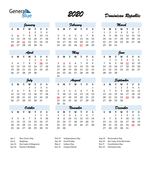 2020 Calendar for Dominican Republic with Holidays